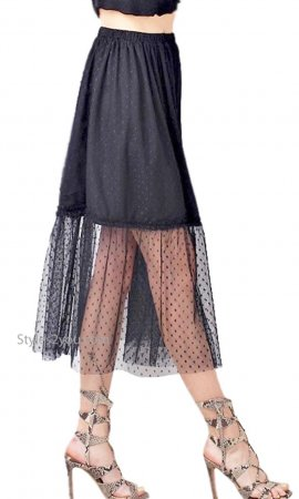 Tullibe Knee Length Tulle Skirt Elastic Waist Lined Mesh Black