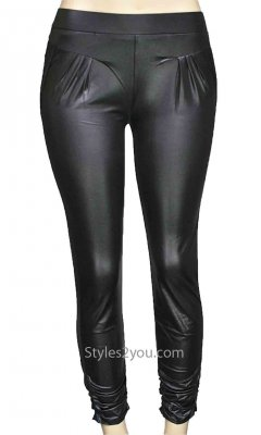 Romy Ladies Faux Leather Leggings In Black Pretty Angel Apparel