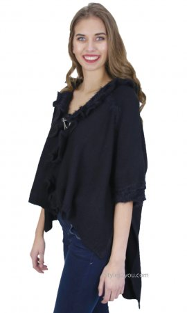 Oili Hi Low Short Sleeve Retro Sweater Cardigan Black Shana K
