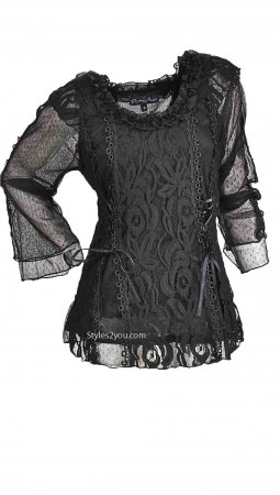 American Vintage Lace Blouse Steampunk Victorian Top In Black