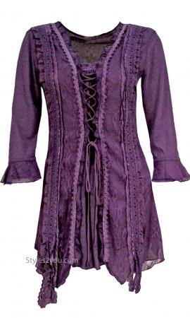 Renaissances Ladies Lace Up Top PLUS SIZE In Dark Purple