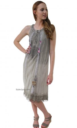 Cherish Victorian Dress Stone Washed Gray Sacred Threads Dresses