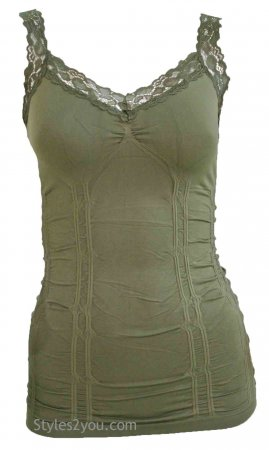 Styles2you Clothing Corset & Lace Undershirt In Green