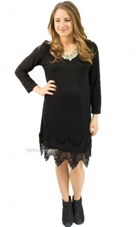 Daphnie Shirt Dress Extender With Lace Hemline Black Monoreno