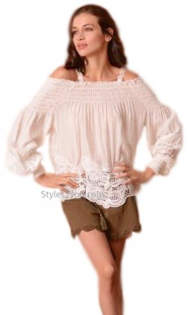 Magnolia Ladies Long Sleeve Fun Crochet Blouse In Cream