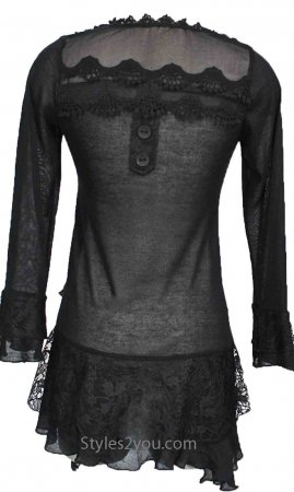 Rain PLUS SIZE Layered Vintage Blouse In Black