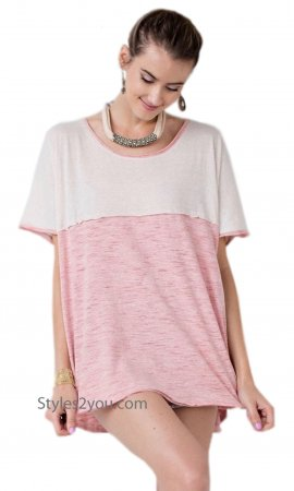 Brentwood Easel Short Sleeve Oversized T-Shirt Top In Rose