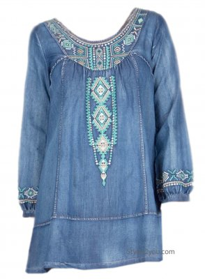 Dollard Embroidered Denim Shirt Dress Faded Blue Monoreno Dress