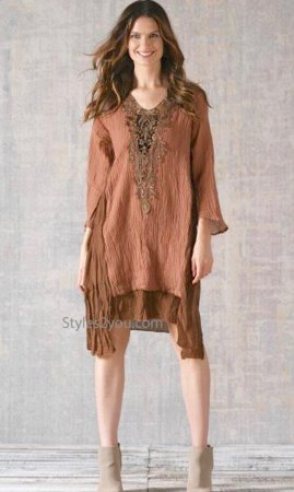 Bernice Bohemian Layered Crochet Tunic Dress In Brown
