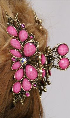 Ladies Vintage Rhinestone Flower Hair Clip In Pink