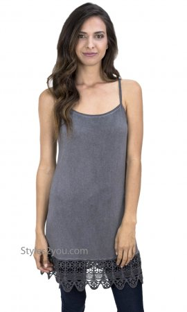 Kizzy Anne Ladies Acid Wash Cami With Crochet Hemline Charcoal
