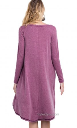 Dear Oversize Brushed Knit Button Down With Pockets In Plum