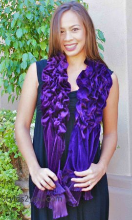 Lillie Victorian Vintage Scarf Wrap in Purple