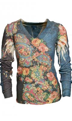 Minton Ladies Soft Ribbed V-Neck Long Sleeve Top DB Sport Tops