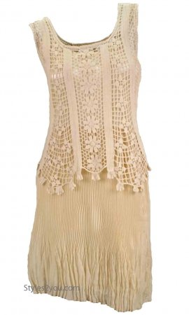 Tilly Vintage Victorian Crochet Dress In Carmel
