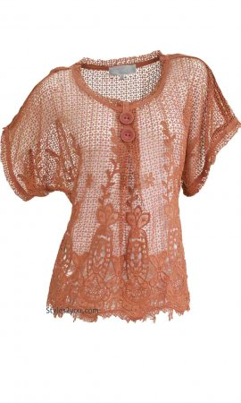 Phillis Ladies Crochet Lace Over Blouse In Rust