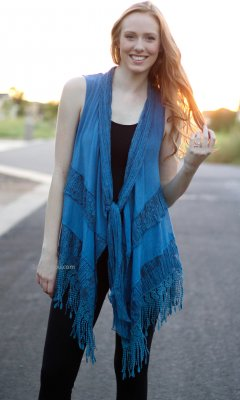 Marilu Ladies Open Vest Cardigan Crochet Lace Insets In Blue