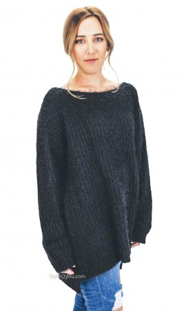 Champaign Ladies Oversized Loose Fitting Sweater Tunic In Black