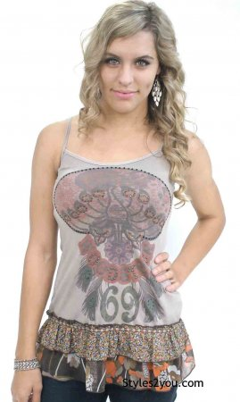 Woodstock Tank With Crystals & Rhinestones