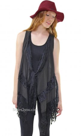 Marilu Ladies Open Vest Cardigan Crochet Lace Insets In Black