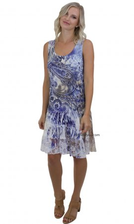 Shirley Sleeveless Ruffle & Lace Dress Blue Paisley Pretty Woman