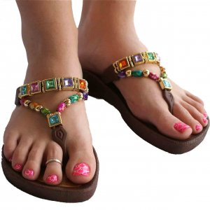 Grandco Sandals Bright Rhinestone T Strap Thong Sandals In Brown