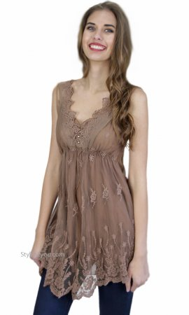 Lottie Ladies Vintage Victorian Lace Tunic Brown Pretty Angel