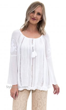 Emory Embroidery Lace Boho Peasant Blouse Bell Sleeves Bila Top
