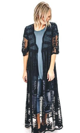 Hollister Ladies Crochet Lace Maxi Duster Cardigan In Black