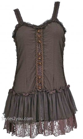 Kinslee Ladies Shabby Chic Top Tunic Dress In Coffee Pretty Top