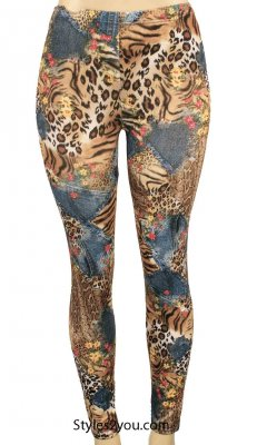 Lisa Legging In Brown And Blue