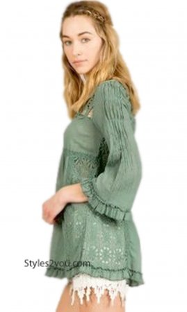 Whidbey 3/4 Sleeve Button Up Ruffle & Crochet Lace Top In Teal
