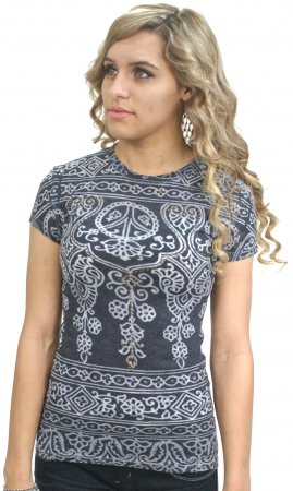 Henna Top With Rhinestones In Blue