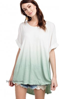Eleonora Oversized Vintage Reproduction Dip Dyed Shirt Green