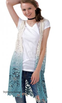 Maurina Ladies Ombre Dip Dye All Crochet Cardigan In Teal Easel