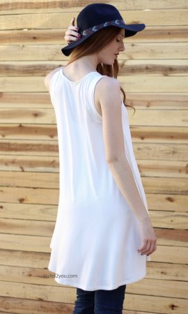 Ethel Basic Sleeveless Bohemian Shirt Dress Cream Sacred Threads