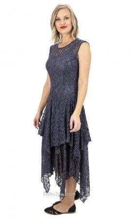 Abigail Layered All Lace Dress With Slip In Gray Verducci Dress