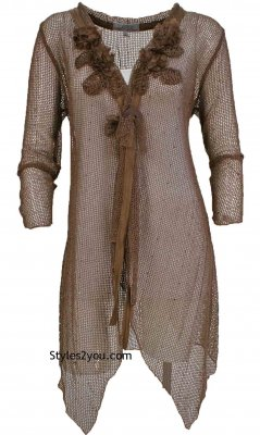 Loral PLUS SIZE Victorian Steampunk Cardigan Tunic In Brown