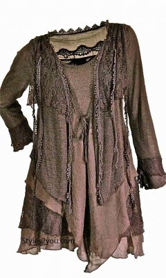 Rain Ladies Retro Layered Vintage Victorian Blouse In Coffee Top