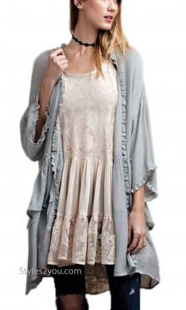 Dolly Embroidered Lace Top Camisole Ruffle Shirt Extender Beige