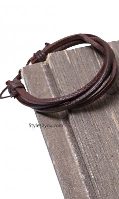 Ashley Chunky Leather Bracelet with Adjustable Tie Easel Clothes