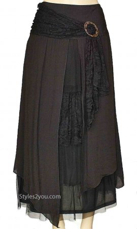 Alabama Ladies Vintage Victorian, Western Belted Skirt Black