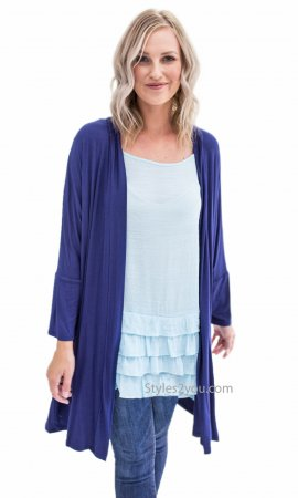 Sibyl Long Sleeve Honeyme PLUS SIZE Open Cardigan In Navy