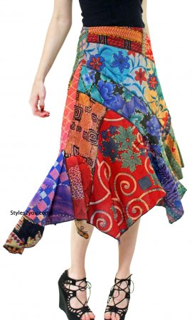 Sheri Hippy Bohemian Patchwork Skirt In Multi Colors