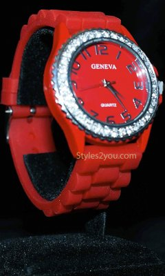 Geneva Silicone Big Face Rhinestone Watch In Dark Red