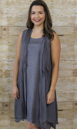 Holidais Peace Dress & Duster (2 Piece) In Gray