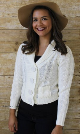 Harper Knit Sweater Cardigan In Ivory