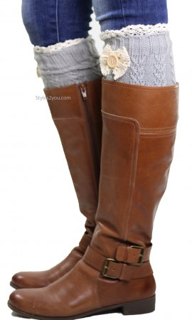Cable Knit Boot Cuff With Crochet Lace, Bow & Button In Gray