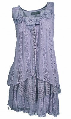 Norma Vintage Victorian Shirt Dress Tunic In Lavender