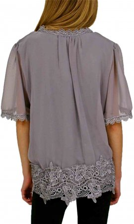 Willamean Ladies Victorian Vintage Blouse In Gray